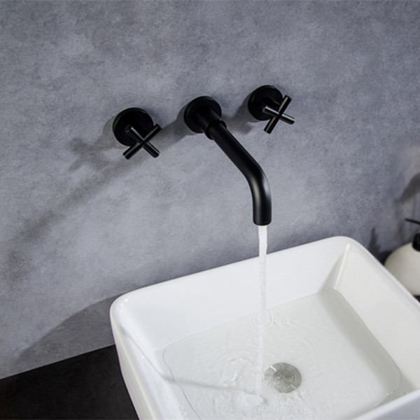 How to install the hot and cold water basin tap spout and handles?