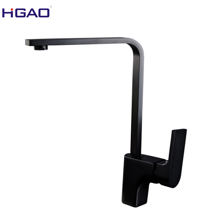 Plate black kitchen sink faucet with less 0.1% low lead